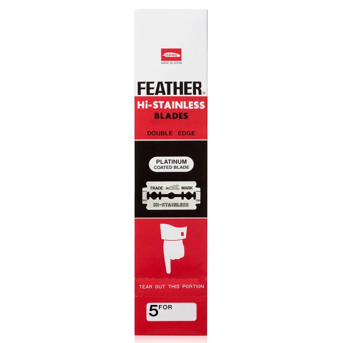 Сменные лезвия Feather Platinum, блок 20x5, 100шт (чёрная пачка)